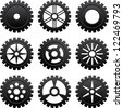 Set of nine black gears different forms - stock photo