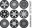 Set of nine black wheels silhouettes - stock photo