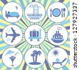 Set of nine blue traveling and accommodation icons on retro background - stock vector