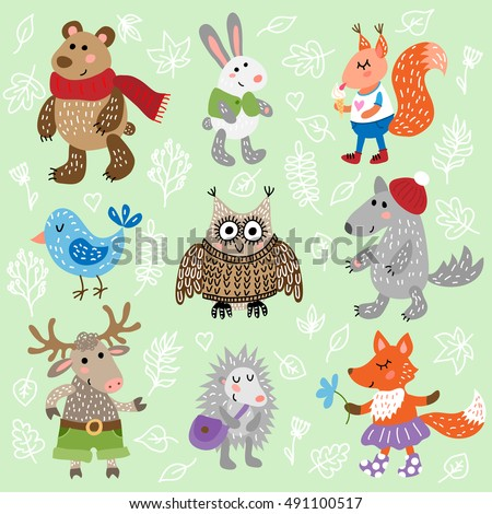 Set of nine cute forest animals on leaves background