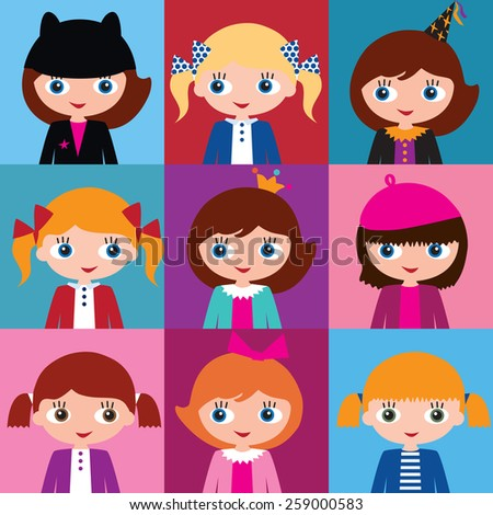 Set of nine different colorful vector with various schoolgirls with different hairstyles and hats.