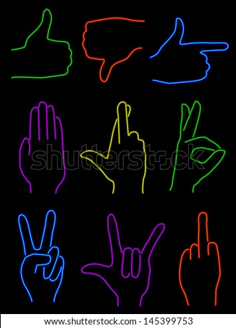 Set of nine hand gestures rendered in neon