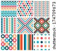 Set of nine seamless geometric pattern - stock vector
