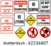 Set of No Dumping or Littering Signs - stock photo