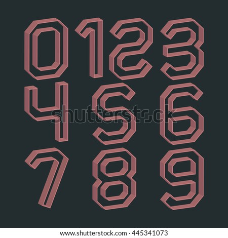 Set of numbers from zero to nine in retro colors and 3D effects, vector illustrations.