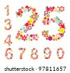 set of numbers in floral style - stock vector