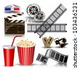 set of objects for cinematography clapper,film tape, 3d glasses vector illustration - stock vector
