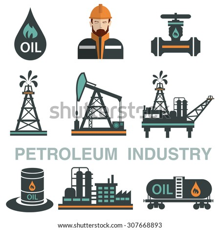 Set of  Oil or Petroleum Vector Flat Icons