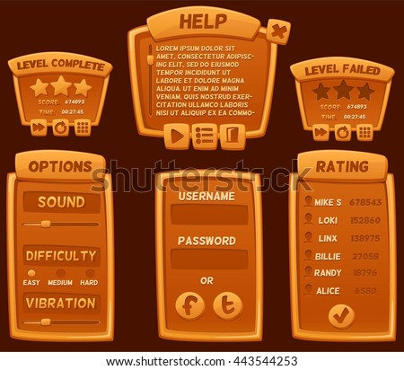 Set of orange cartoon boards and buttons for casual games. Graphic user interface, vector illustration.