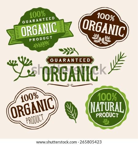 Set Fresh Organic Labels Elements Stock Vector 116507527