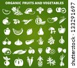 Set of organic vegetables and fruits icons. Vector illustration - stock vector