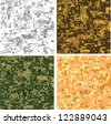 Set of original camouflage digital pixel patterns. Seamless background - stock vector