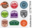 Set of outdoor adventure and expedition logo badges - stock vector