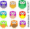 set of Owls isolated on white. vector - stock vector