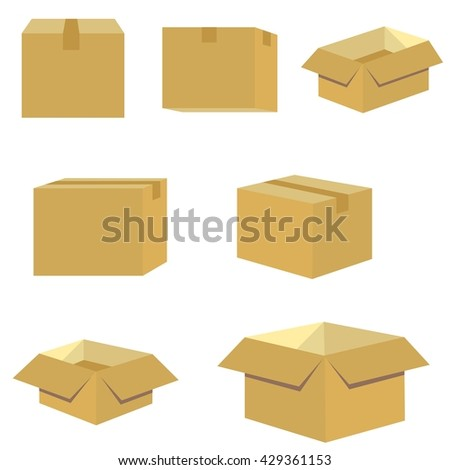 set of packing box in brown