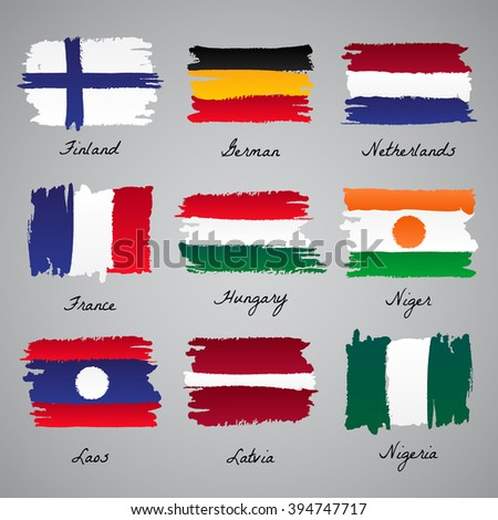 Set of painted vector flag of different countries: Finland, Germany, Netherlands, France, Hungary, Niger, Laos, Latvia, Nigeria. Vector sketch illustration collection.