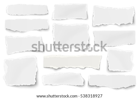 Set of paper different shapes scraps isolated on white background
