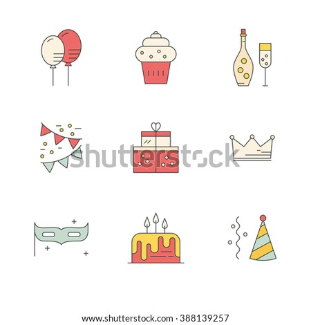 Set of party icons made in line style vector. Celebration symbols. Design elements for event planning company or birthday party.