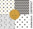 Set of  patterns. Set of simple seamless 4 black and white Scandinavian trend seamless pattern - black cross, chevrons, stripes, arrow. - stock