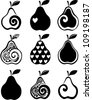 set of pears icon isolated on white background. Vector illustration - stock photo