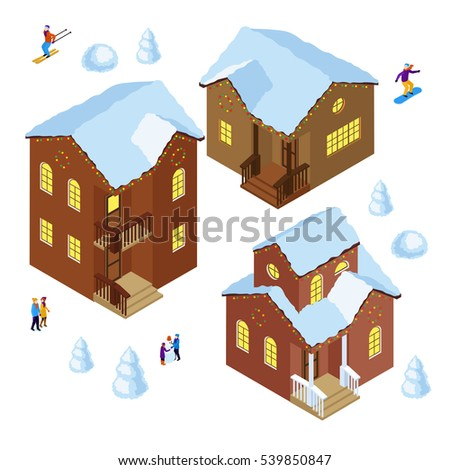 Set of people and houses isometric on white