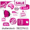 Set of pink discount tickets, labels, stamps, stickers, corners, tags - stock vector
