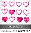 Set of pink grunge hearts. Vector illustration. - stock vector