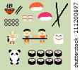 Set of pixel art icons on japanese food style, vector - stock vector