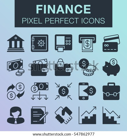 Set of pixel perfect finance icons for mobile apps and web design.