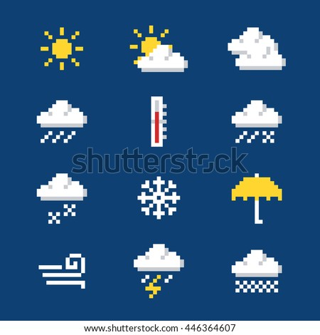 Set of pixel weather icons