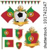 set of portugal football supporter flags and emblems, isolated on white - stock vector