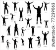 Set of poses from fans for sports championships and music concerts. - stock