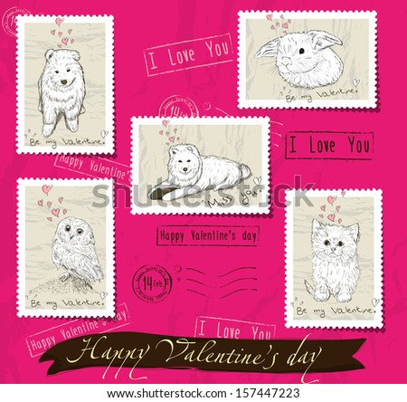 Set of postage stamps about love. Vector illustration EPS10