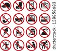 Set of prohibited signs. - stock photo