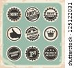 Set of promotional retro labels, badges, stamps and stickers. Vintage signs, symbols and icon collection of vector design elements. - stock vector