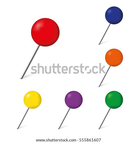Set of push pins isolated on a white background