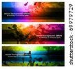 Set of Rainbow Backgrounds - 3 Colorful Banners - stock photo