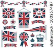 set of red and blue uk flags, ribbons and crowns, isolated on white - stock vector