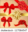 Set of red and gold vintage gift bows with ribbons. Vector. - stock vector