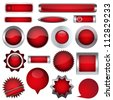 set of red buttons - stock vector