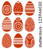 Set of Red Easter Eggs with Patterns on White Background, Vector Version - stock vector
