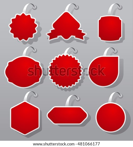 set of red empty advertising and promotion badges