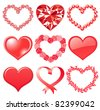 set of red hearts - stock vector