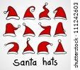 Set of red Santa hats. - stock vector