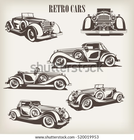 Set of retro car.
