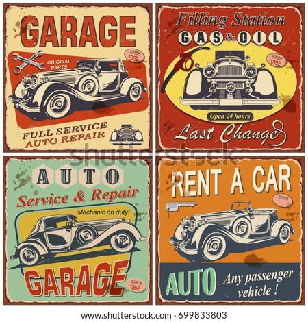 Vintage Rent Car Poster Retro Car Stock Vector 565558588