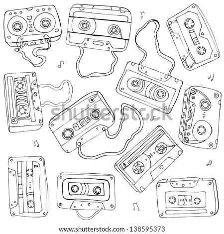 Set of retro cassette tapes. Vector illustration.