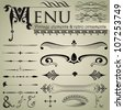 Set of retro design elements for page decoration, cute vignette, old ornate card, menu frame, gold sign, symbol, gold art menu, ribbon, royal row, king image, grunge backdrop, type label vector eps 8 - stock vector