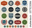 Set of retro vintage badges and labels with texture - stock vector