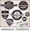 Set of retro vintage labels and ribbons, vector - stock vector